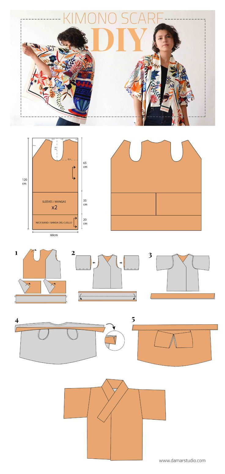 How To Make A Kimono With A Scarf Diy Kimono Diy Sewing Clothes Fashion Sewing