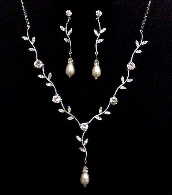 Autumn Wedding Jewelry Bridal Swarovski Necklace Earrings Set Eco Nature Inspi