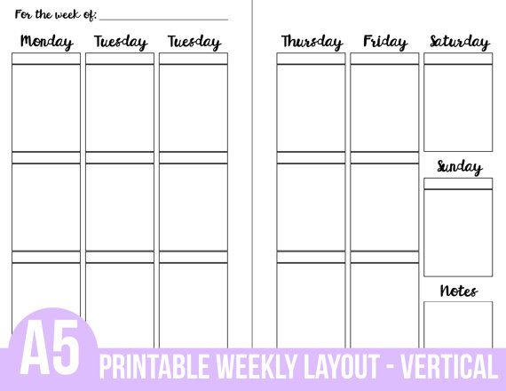 Weekly Vertical Calendar Template : Printable a planner inserts weekly vertical layout