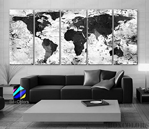 "Xlarge 30""x 70"" 5 Panels 30x14 Ea Art Canvas Print World Map Original Watercolor Texture Old Black & White Wall Home Office Decor (Framed 1.5"" Depth) BoxColors http://www.amazon.com/dp/B0152KNL58/ref=cm_sw_r_pi_dp_OPZrwb1Z69D2D"
