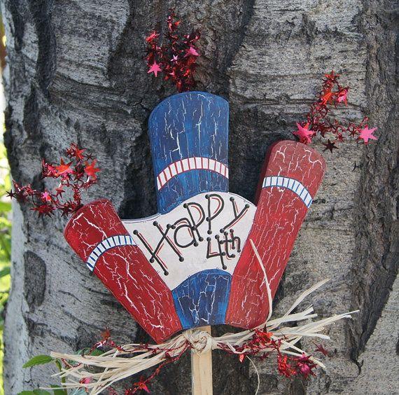 4th of July Firecracker Wood Yard Decoration - Yard Stake ...