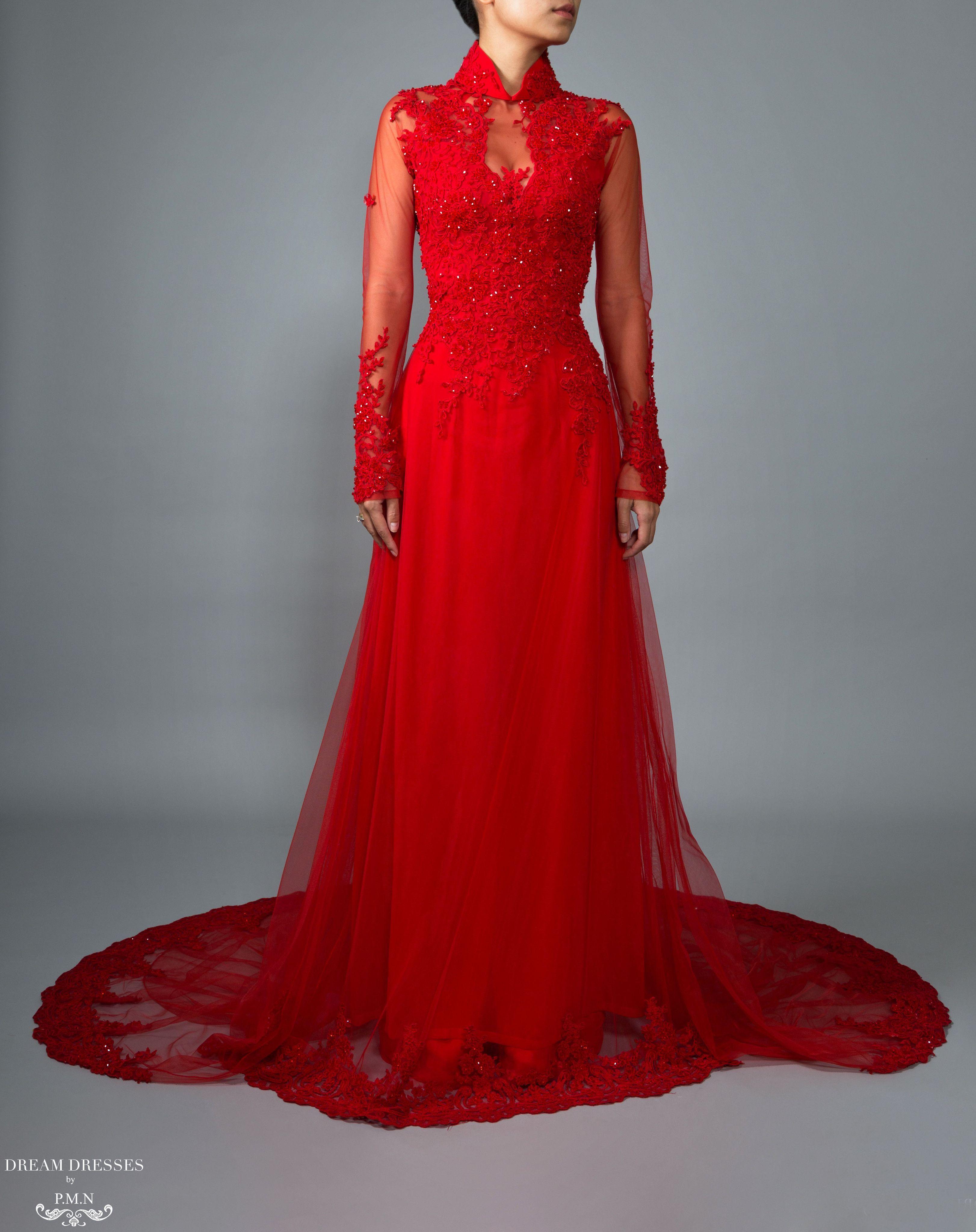Red Ao Dai Vietnamese Lace Bridal Dress (VIONA) (With