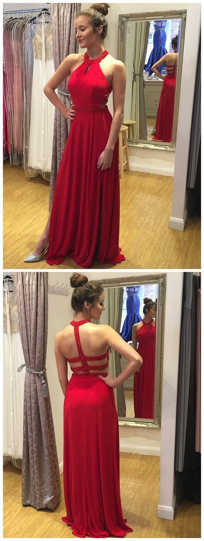 Red prom dresses aline scoop beading cheap modest prom dress