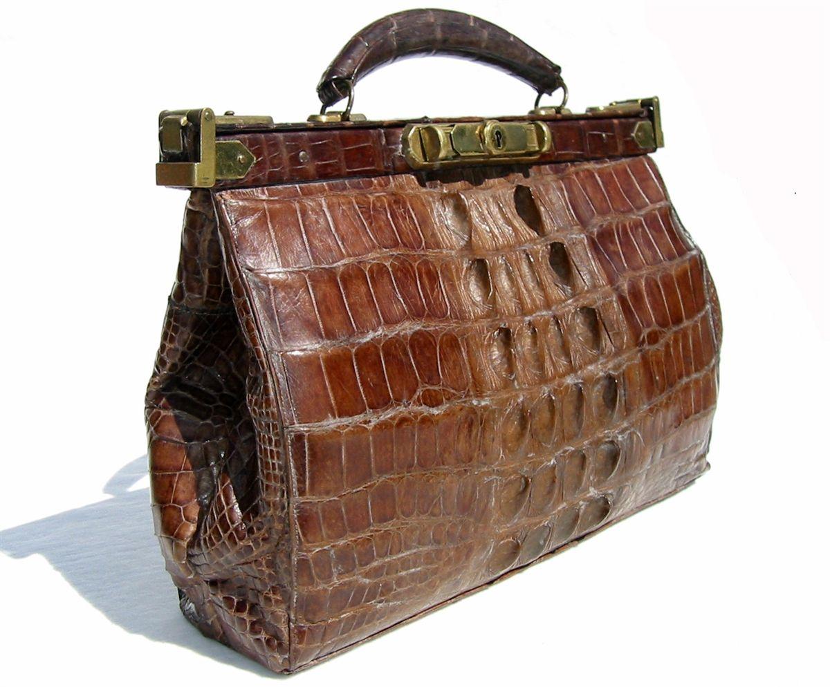 1940's-50's Full HORNBACK CROCODILE Suitcase Travel Bag Luggage ...