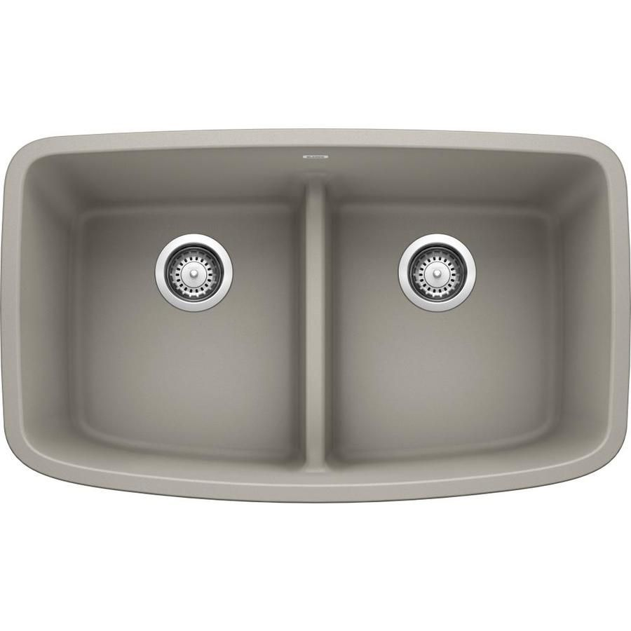 Blanco Valea 32 In X 19 In Concrete Gray Double Equal Bowl Undermount Residential Kitchen Sink 442755 In 2020 Sink Double Bowl Kitchen Sink Grey Kitchen Sink