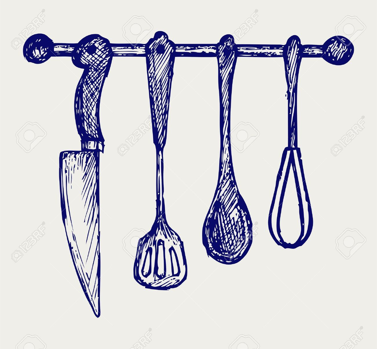 Rack Of Kitchen Utensils. Doodle Style Royalty Free Cliparts ...