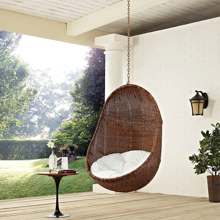 LexMod   Bean Outdoor Patio Swing Chair In Coffee White