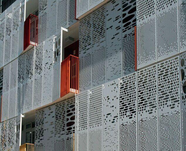 Aluminum Curtain Wall Design : Facadeのためのcnc punched aluminum decorative curtain wall写真