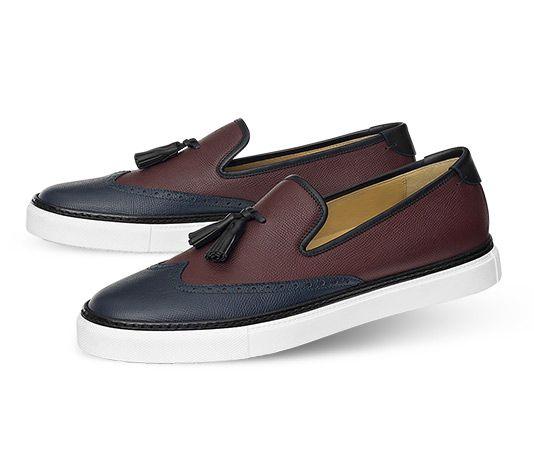 Hermes men's sneaker in calfskin and Epsom calfskin,