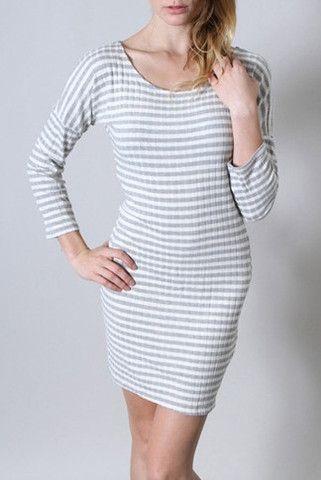 Gray Striped Long Sleeve Dress – Loves Creation
