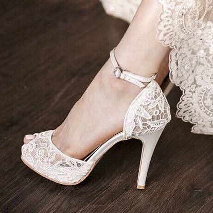 Buy Now! White Vintage Bridal Heels Peep Toe Ankle Strap Lace Pumps with Platfor...