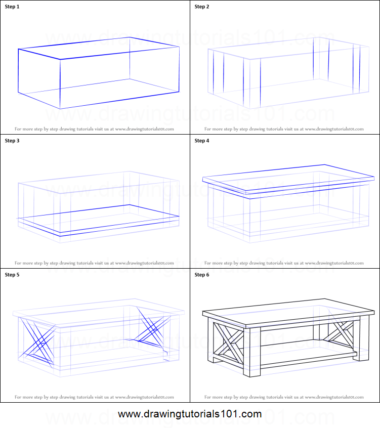How To Draw A Coffee Table Printable Step By Drawing Sheet