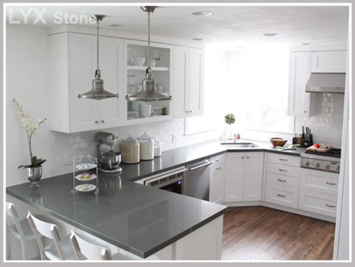 Engineered Stone Grey Quartz Countertops Kitchen remodel