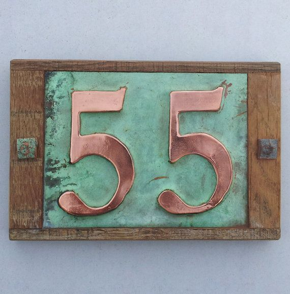 House Number Sign In Real Copper With Limed Oak Frame 2x 3 75mm Or 4 100 Mm High Numbers D Traditional House Numbers House Numbers Copper House