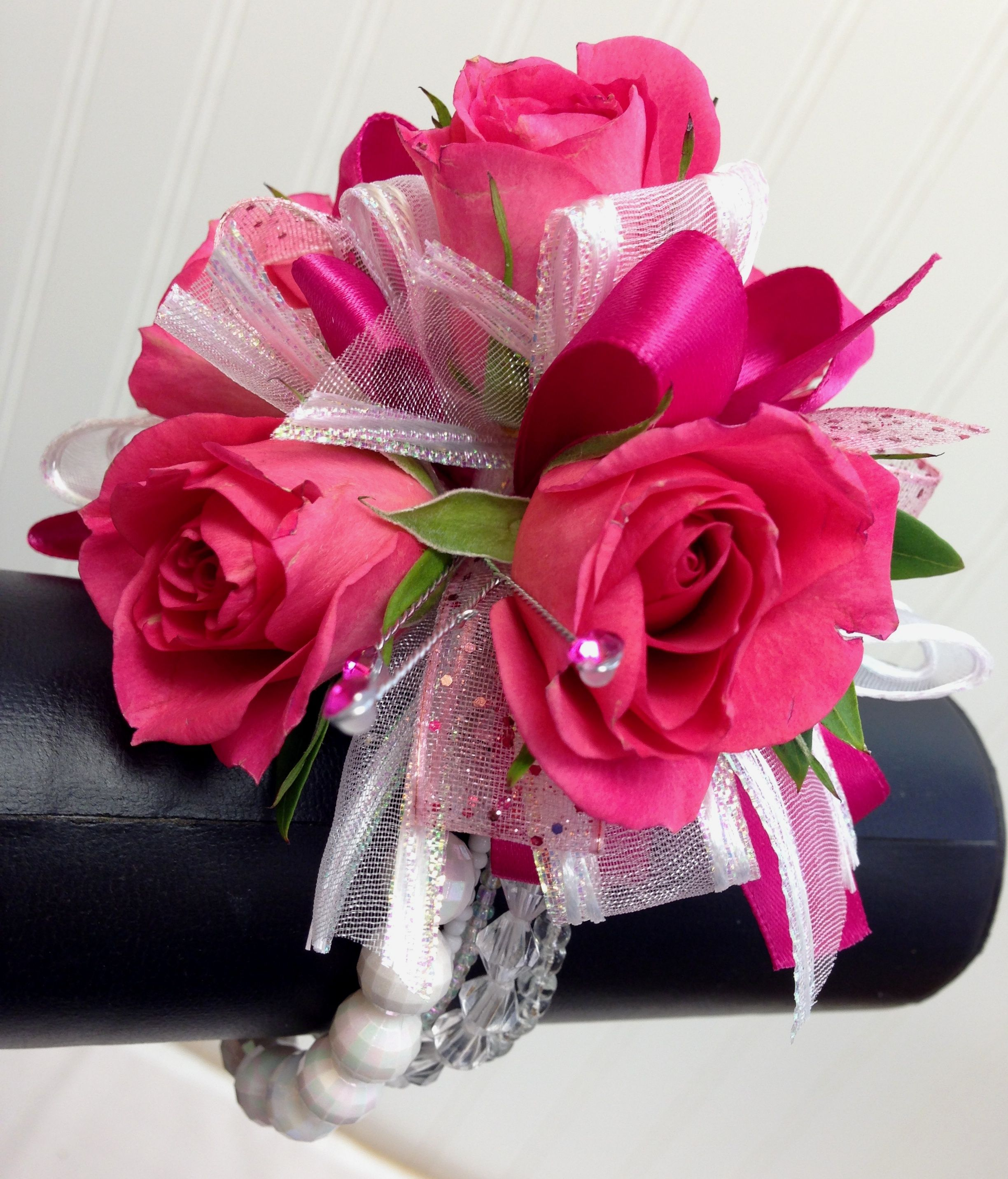 Hot Pink And White Wrist Corsage By Ballard Blossom Prom Flowers