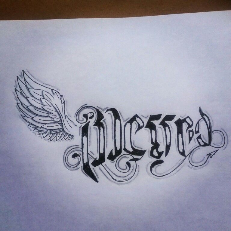 Blessedcursed Ambigram Tat Miscelaneous Art Pinterest