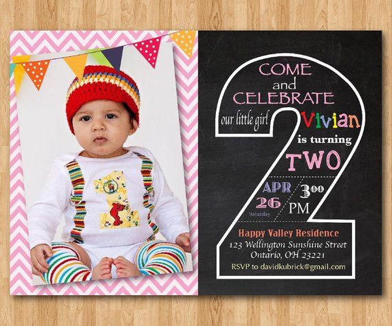 Second Birthday Invitation Chalkboard 2nd Invite With Photo Chevron Baby Boy Or Girl