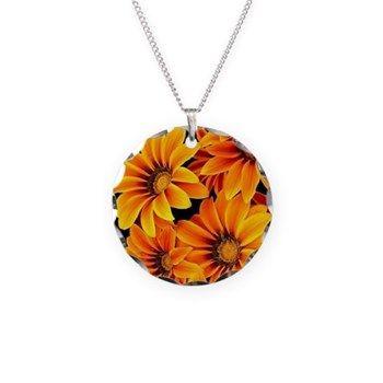 Orange Garden Flowers Necklace