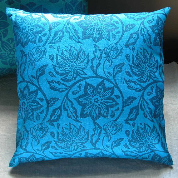 navy passionflower on brilliant blue linen hand block by ...
