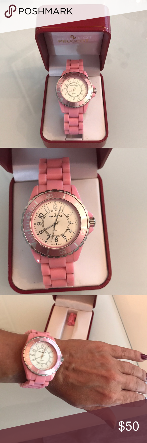 Peugeot Watch Pink Plastic Bracelet Peugeot Watch Like New Condition With The Box Needs A Battery Replace Only Peugeot Ac Pink Plastic Watches Things To Sell