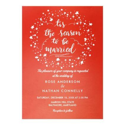Bright Red Christmas Winter Wedding Handwritten Card Invitations Cards Custom Invitation Design