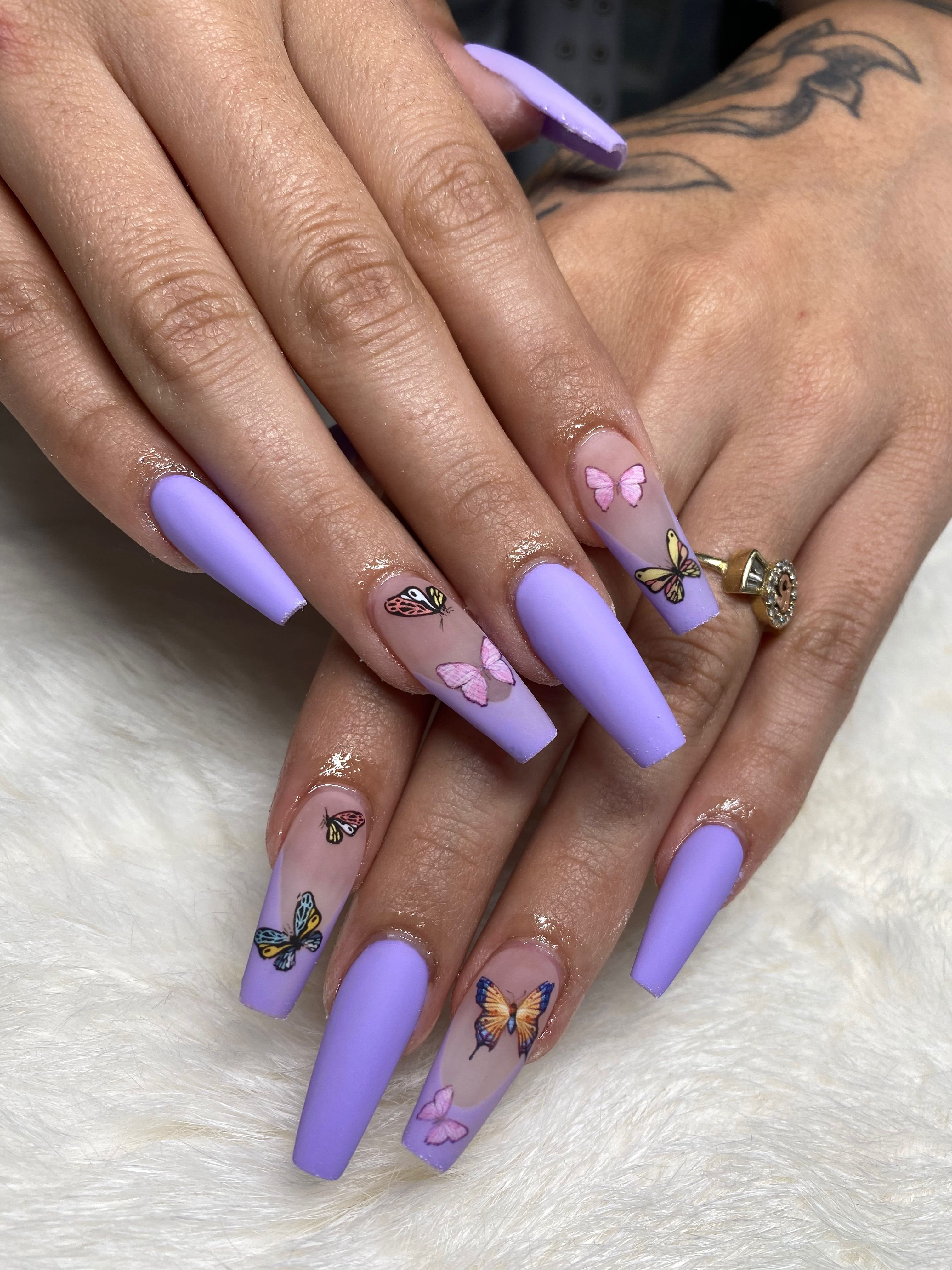 Matte Purple Butterfly Acrylic Nails In 2020 Purple Acrylic Nails Bling Acrylic Nails Purple Nails