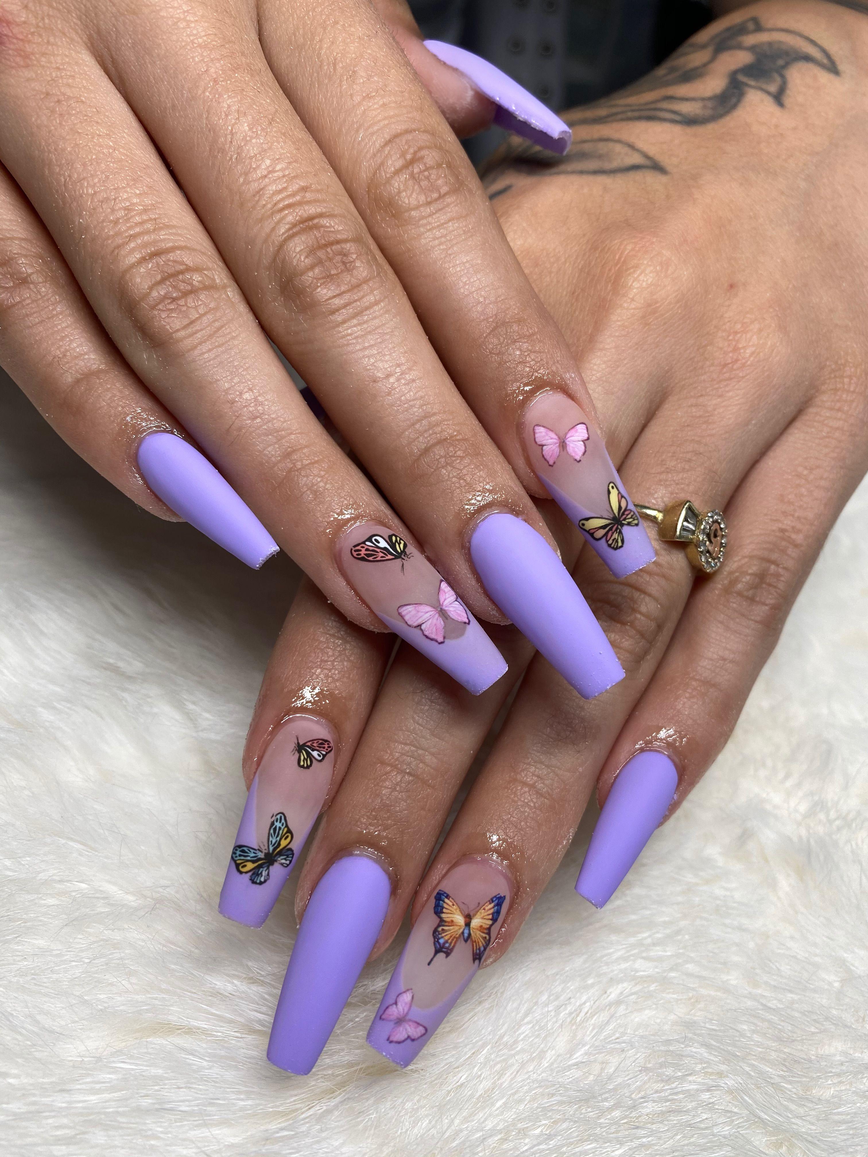 Matte Purple Butterfly Acrylic Nails In 2020 Purple Acrylic Nails Long Acrylic Nails Coffin Bling Acrylic Nails