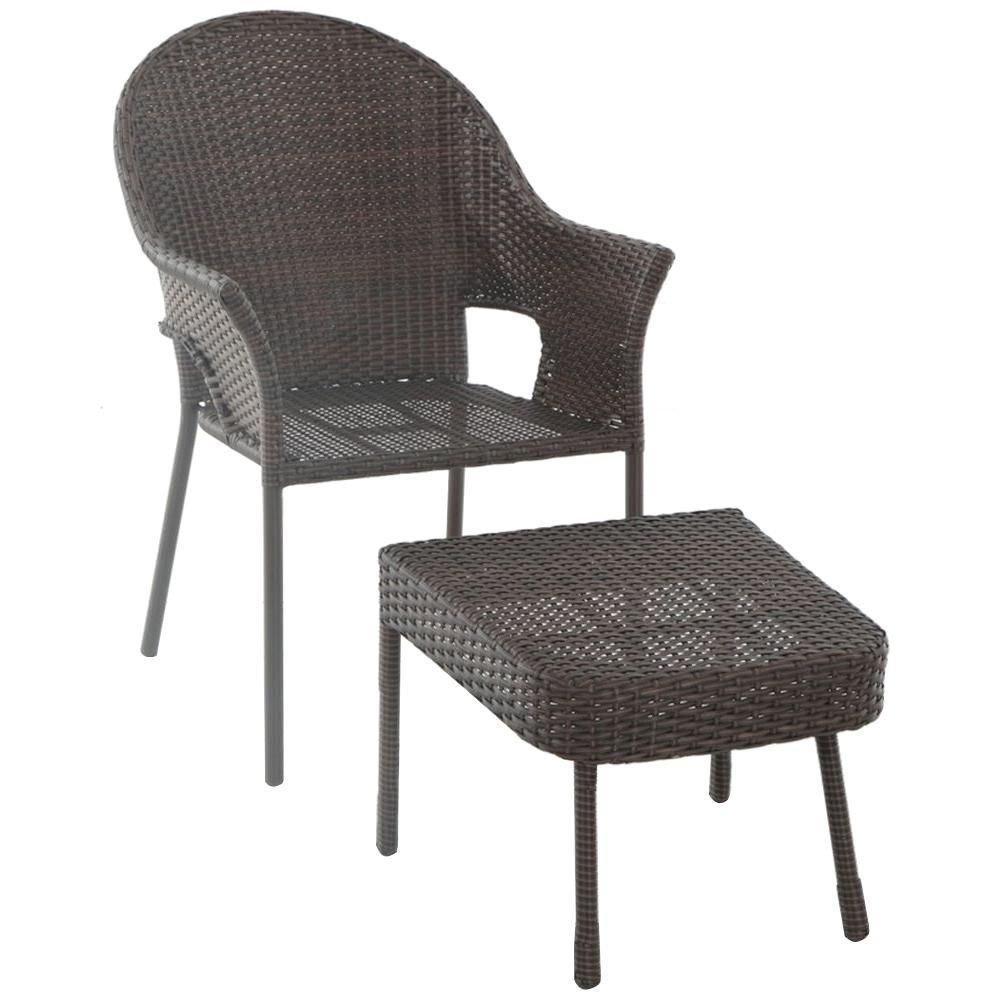 Hampton Bay All-Weather Wicker Patio Stack Chair and Ottoman ...