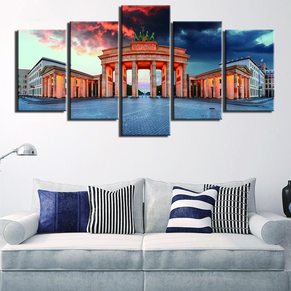 5 panel germany berlin brandenburg gate canvas frame