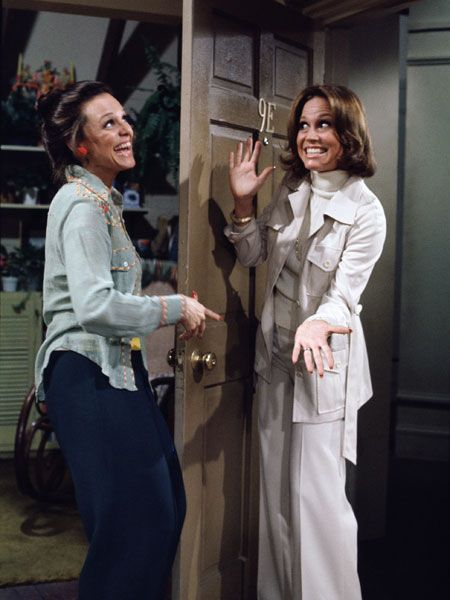 Mary Tyler Moore and Valerie Harper as Mary and Rhoda in 'The Mary Tyler Moore Show'. @Michelle Flynn Thornton - this is us!