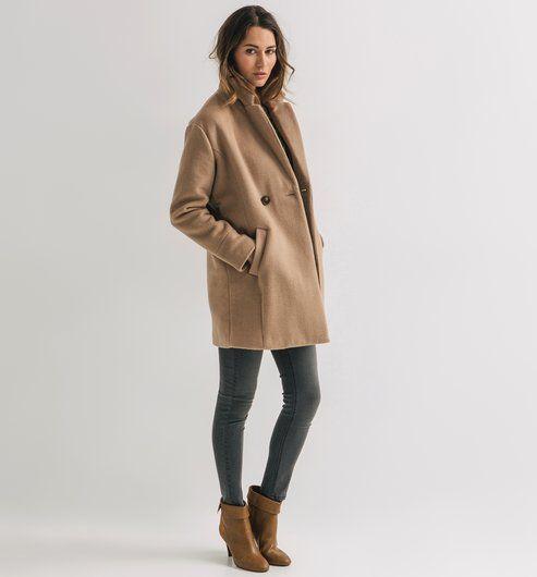 Coats Beż Promod Damski Płaszcz Long 2019 Camel Ciemny Coat En x4qP6wUp