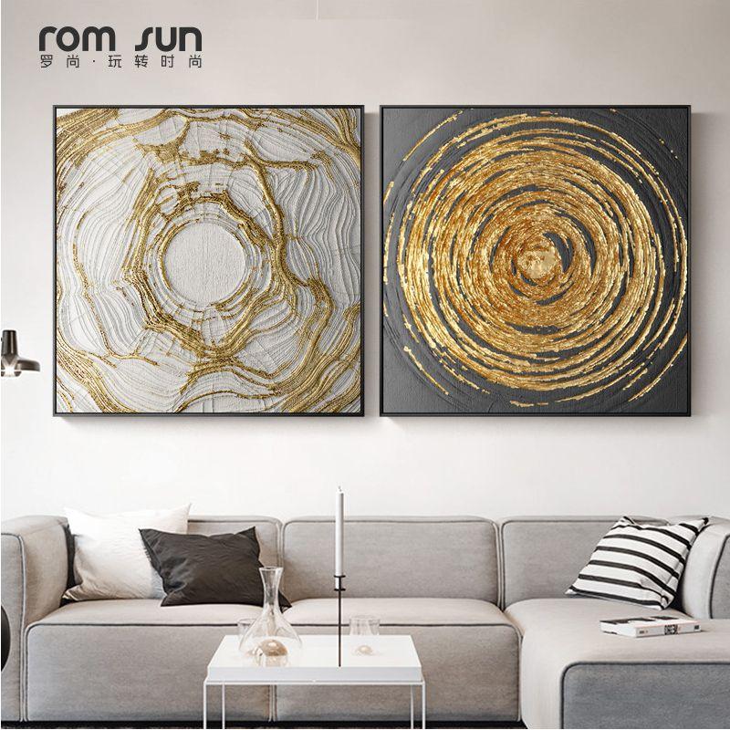 Pas Cher Abstraite Qui Coule Or Toile Peinture Art Mur