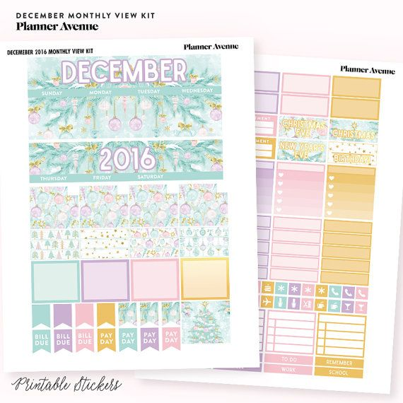 December Monthly Kit Printable Stickers Erin Condren Planner