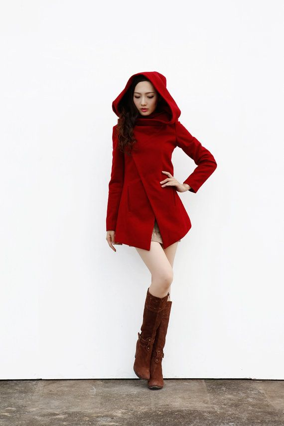 Dark Grey Hooded Coat / Asymmetric Jacket / por Sophiaclothing