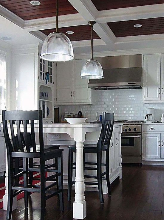 Coffered Ceiling Design, but with a more rustic wood in ...