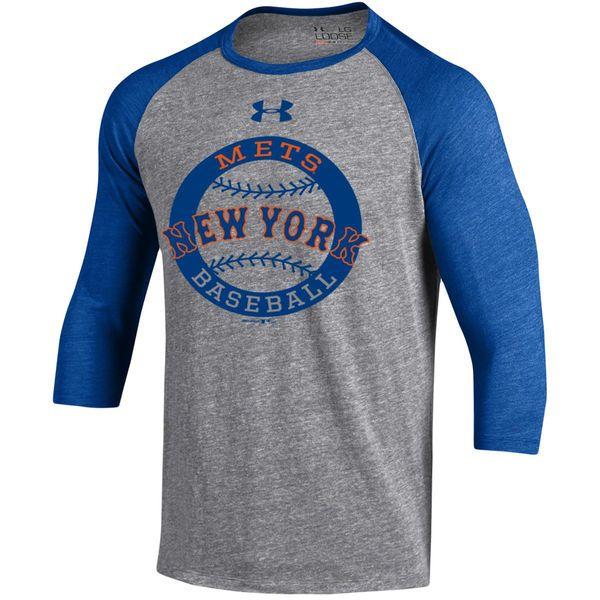 New York Mets Under Armour Baseball 3 4 Sleeve Tri Blend Performance T Shirt Gray Royal Shirts Yankees T Shirt Cubs Shirts