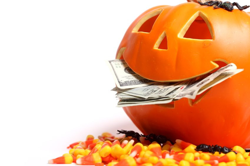 Halloween money costumes decorations and candy