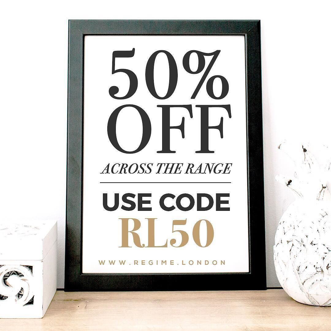 Need a skincare fix? Then it's time for a Regime London sale! Get 50% off across the range!  _ Redeem your discount by using the code RL50 _ Shop by clicking the link in the bio @regimelondon or go to www.Regime.London