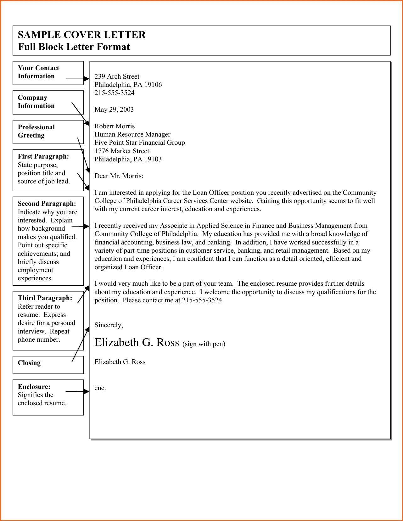 Full Block Letter Sample