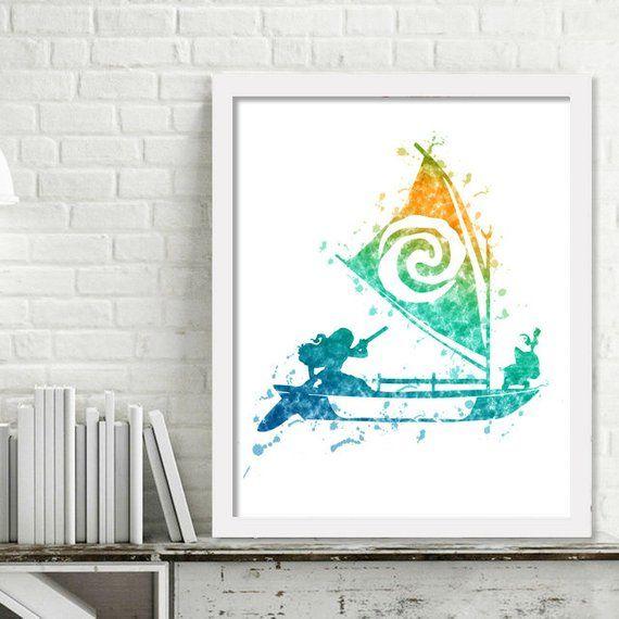 Printable Disney Moana Wall Art Moana Print Watercolor Girl Kids