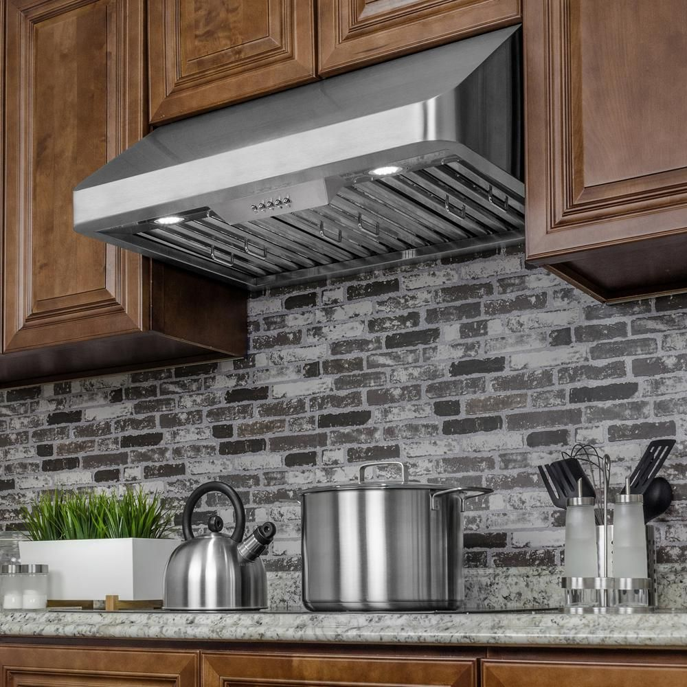 Akdy 30 In Under Cabinet Range Hood In Stainless Steel With Leds And Electronic Push Buttons Under Cabinet Range Hoods Range Hood Kitchen Backsplash Designs