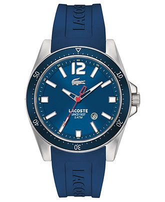 528434df2a505 Lacoste Watch, Men s Seattle Blue Silicone Strap 43mm 2010665 - Men s  Watches - Jewelry   Watches - Macy s