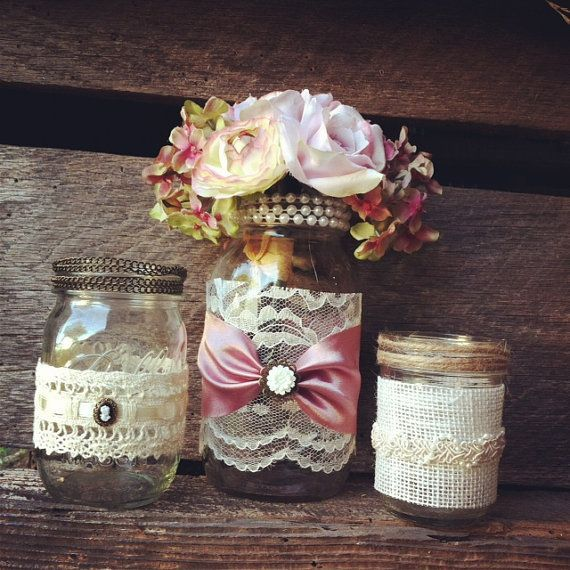 Burlap And Lace Mason Jar Vases Vintage Style Jars Wedding Decorations Home Decor Rustic Chic 2049120