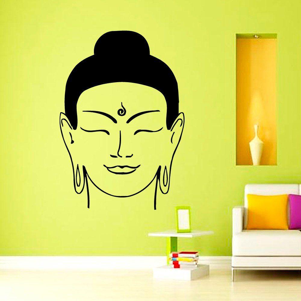 Wall Decals Buddha Head Decal Vinyl Sticker Wall Decor Murals Yoga ...