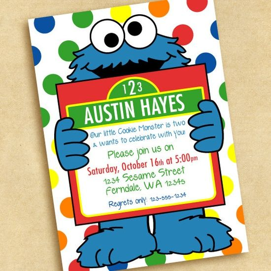 Cookie Monster Birthday Party Invitation 1500 via Etsy Cookie