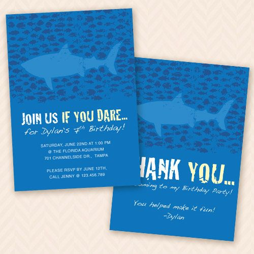 Ocean Shark Birthday Party Invitation and Thank You Card Design – Ocean Party Invitations