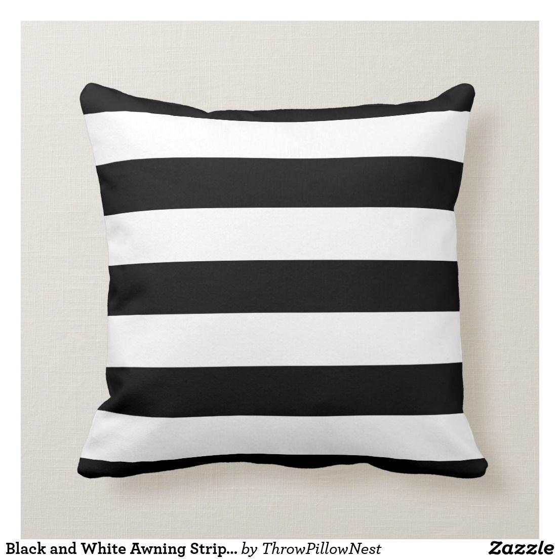 Black And White Awning Stripes Throw Pillow Homedecor Throwpillows Ad Stripe Throw Pillow Striped Throw Throw Pillows