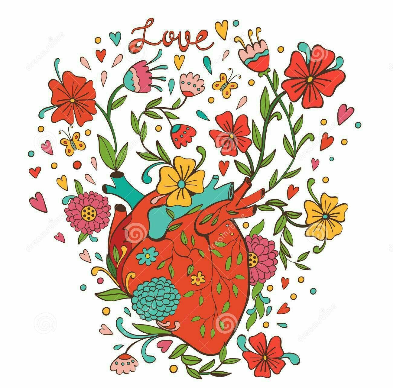 Ejemplo Del Corazón Humano Con Las Flores Hermosas - | Corazon arte ...