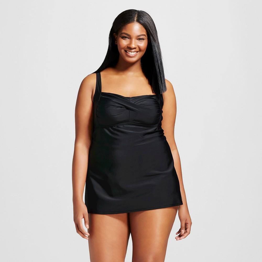 3091e3633cf0a Women s Plus Size Swim Dress One Piece - Ava   Viv™ - Black 24W