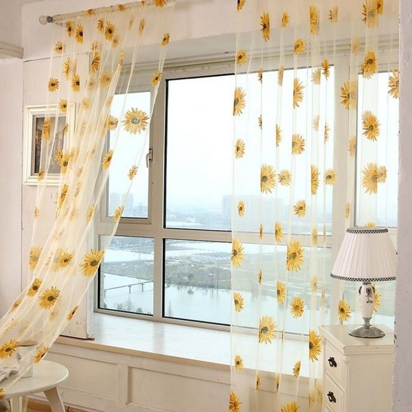 High Quality Sunflower Sheer Tulle Window Curtain Valance Door Room Divider Drape Decoration | Wish